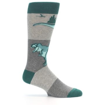 Image of Teal Grey T-Rex Dinosaur Men's Dress Socks (side-1-25)