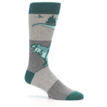 Image of Teal Grey T-Rex Dinosaur Men's Dress Socks (side-1-26)