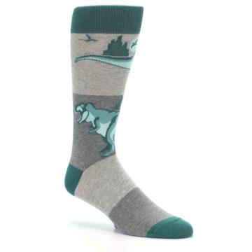 Image of Teal Grey T-Rex Dinosaur Men's Dress Socks (side-1-27)