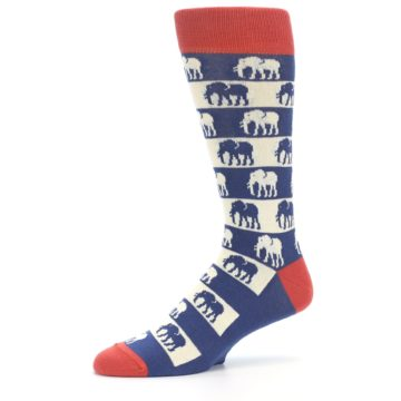 Image of Blue Red Elephants Men's Dress Socks (side-2-10)