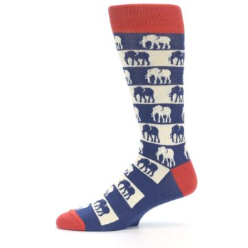 Image of Blue Red Elephants Men's Dress Socks (side-2-11)