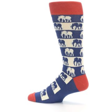 Image of Blue Red Elephants Men's Dress Socks (side-2-13)