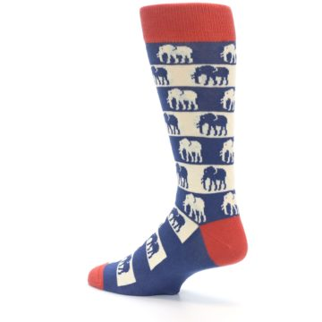 Image of Blue Red Elephants Men's Dress Socks (side-2-back-14)