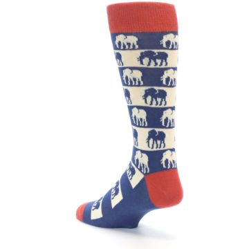 Image of Blue Red Elephants Men's Dress Socks (side-2-back-15)