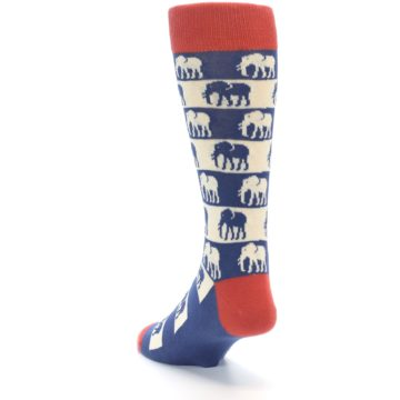 Image of Blue Red Elephants Men's Dress Socks (side-2-back-16)