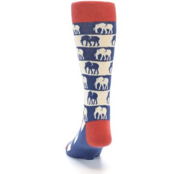 Image of Blue Red Elephants Men's Dress Socks (back-17)