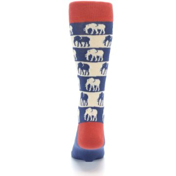 Image of Blue Red Elephants Men's Dress Socks (back-18)