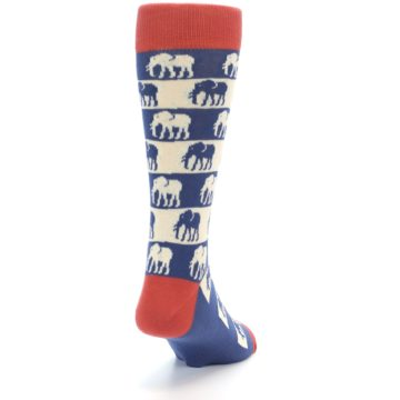 Image of Blue Red Elephants Men's Dress Socks (side-1-back-20)