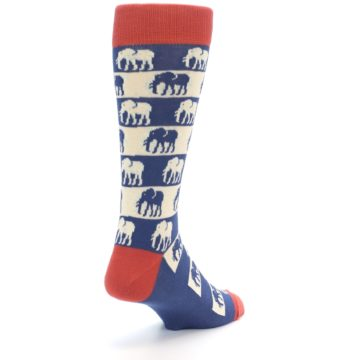 Image of Blue Red Elephants Men's Dress Socks (side-1-back-21)