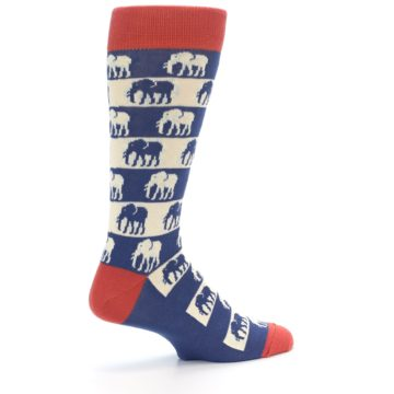 Image of Blue Red Elephants Men's Dress Socks (side-1-23)