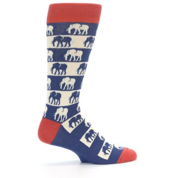 Image of Blue Red Elephants Men's Dress Socks (side-1-24)