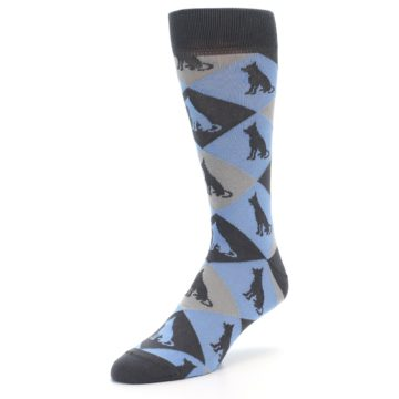 Image of Blue Grey Dog Men's Dress Socks (side-2-front-08)