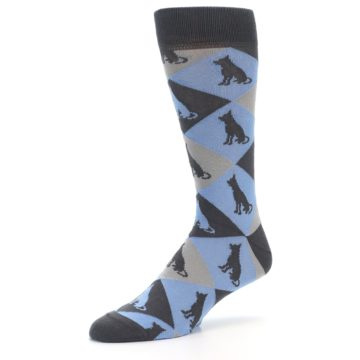 Image of Blue Grey Dog Men's Dress Socks (side-2-09)