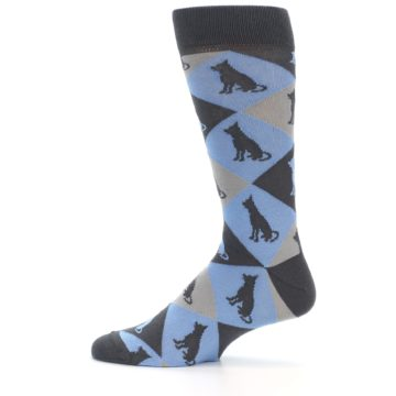 Image of Blue Grey Dog Men's Dress Socks (side-2-12)