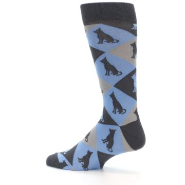 Image of Blue Grey Dog Men's Dress Socks (side-2-13)