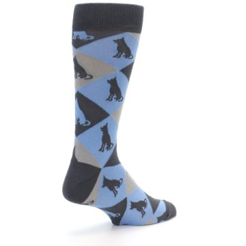 Image of Blue Grey Dog Men's Dress Socks (side-1-back-22)