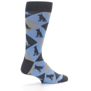 Image of Blue Grey Dog Men's Dress Socks (side-1-23)