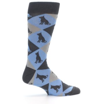 Image of Blue Grey Dog Men's Dress Socks (side-1-24)
