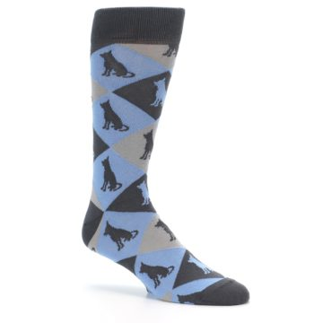 Image of Blue Grey Dog Men's Dress Socks (side-1-26)