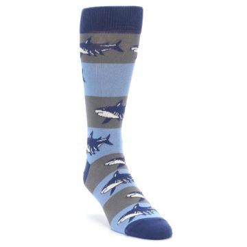 Image of Blue Grey Sharks Men's Dress Socks (side-1-front-02)