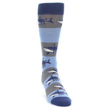 Image of Blue Grey Sharks Men's Dress Socks (side-1-front-03)