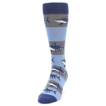 Image of Blue Grey Sharks Men's Dress Socks (side-2-front-06)