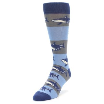 Image of Blue Grey Sharks Men's Dress Socks (side-2-front-07)