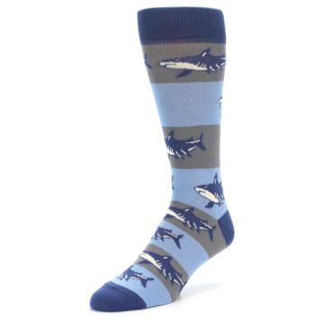 Image of Blue Grey Sharks Men's Dress Socks (side-2-front-08)