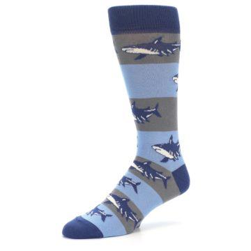 Image of Blue Grey Sharks Men's Dress Socks (side-2-09)