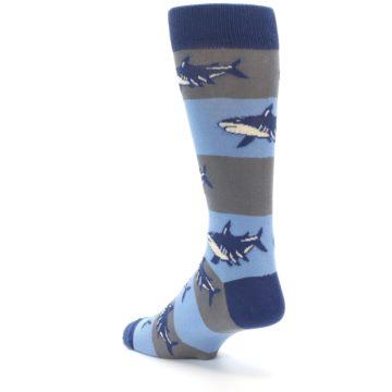 Image of Blue Grey Sharks Men's Dress Socks (side-2-back-15)