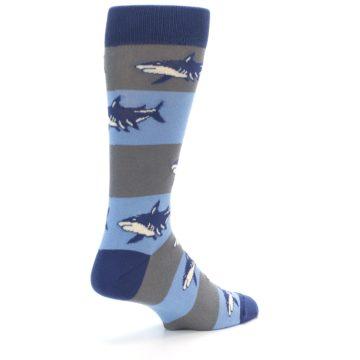 Image of Blue Grey Sharks Men's Dress Socks (side-1-back-22)
