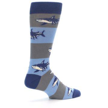 Image of Blue Grey Sharks Men's Dress Socks (side-1-23)