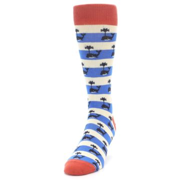 Image of Blue White Whales Men's Dress Socks (side-2-front-06)