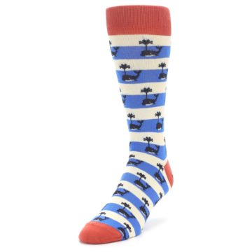 Image of Blue White Whales Men's Dress Socks (side-2-front-07)