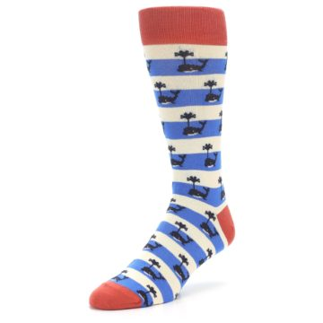 Image of Blue White Whales Men's Dress Socks (side-2-front-08)