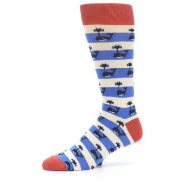 Image of Blue White Whales Men's Dress Socks (side-2-10)