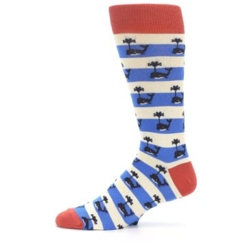 Image of Blue White Whales Men's Dress Socks (side-2-11)