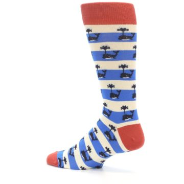 Image of Blue White Whales Men's Dress Socks (side-2-13)