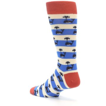 Image of Blue White Whales Men's Dress Socks (side-2-back-14)