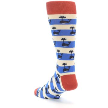 Image of Blue White Whales Men's Dress Socks (side-2-back-15)
