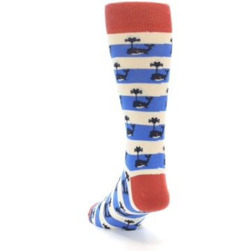 Image of Blue White Whales Men's Dress Socks (side-2-back-16)