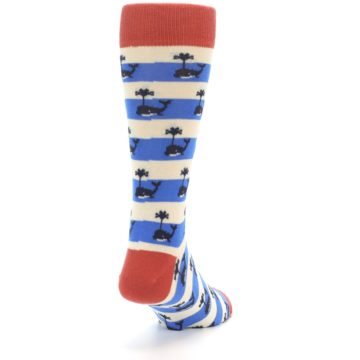 Image of Blue White Whales Men's Dress Socks (side-1-back-20)