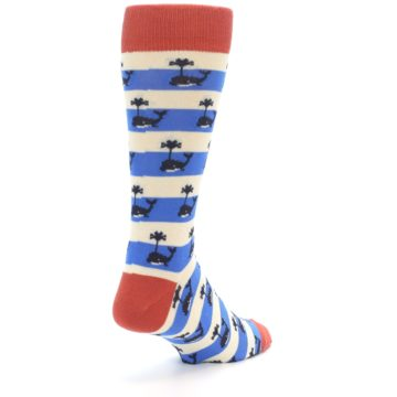 Image of Blue White Whales Men's Dress Socks (side-1-back-21)