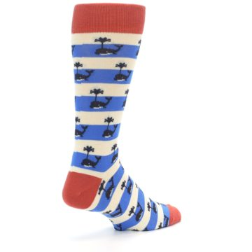 Image of Blue White Whales Men's Dress Socks (side-1-back-22)