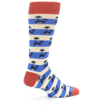 Image of Blue White Whales Men's Dress Socks (side-1-23)