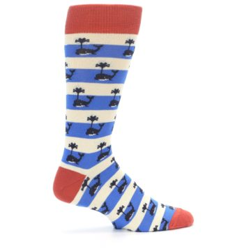 Image of Blue White Whales Men's Dress Socks (side-1-24)