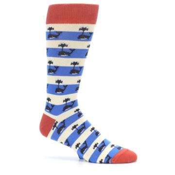 Image of Blue White Whales Men's Dress Socks (side-1-25)