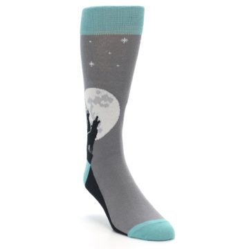 Image of Grey Teal Howling Wolves Men's Dress Socks (side-1-front-02)