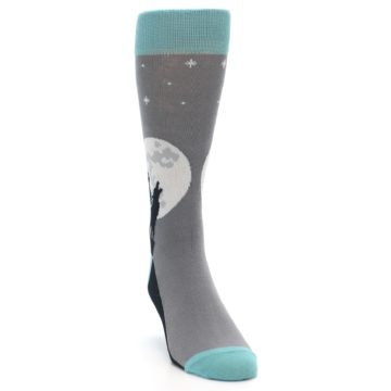 Image of Grey Teal Howling Wolves Men's Dress Socks (side-1-front-03)