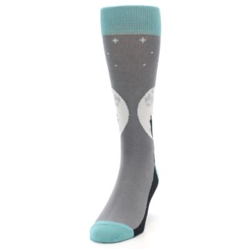 Image of Grey Teal Howling Wolves Men's Dress Socks (side-2-front-06)